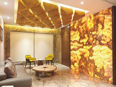 thiết kế nội thất với đá xuyên sáng